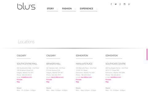 Screenshot of Locations Page blus.com - BLU'S - Stores - Located in Bankers Hall and Southcentre, Calgary and Manulife Place and Southgate, Edmonton, Alberta - captured Feb. 7, 2016