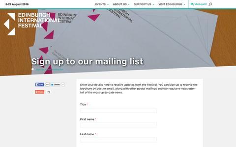 Screenshot of Signup Page eif.co.uk - Sign up to our mailing list | Edinburgh International Festival - captured Nov. 9, 2015
