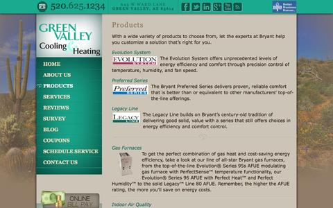 Screenshot of Products Page greenvalleycooling.com - Cooling and Heating Products | Green Valley Cooling and Heating - captured Oct. 23, 2014