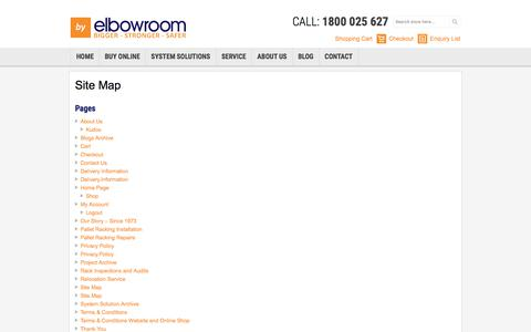 Screenshot of Site Map Page elbowroom.com.au - Site Map | Elbowroom - captured Sept. 26, 2018