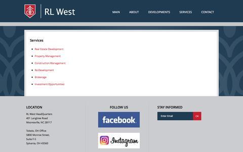 Screenshot of Services Page rlwest.com - Services | RL West - captured Dec. 6, 2016