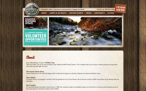 Screenshot of About Page foresthome.org - Forest Home  » About - captured Sept. 22, 2014