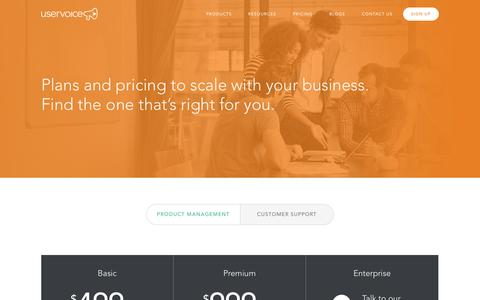 Screenshot of Signup Page uservoice.com - Pricing | UserVoice - captured July 3, 2015