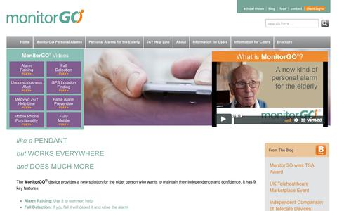 Screenshot of Home Page monitorgo.com - MonitorGO | A new personal alarm for the elderly living at home - captured Oct. 23, 2017