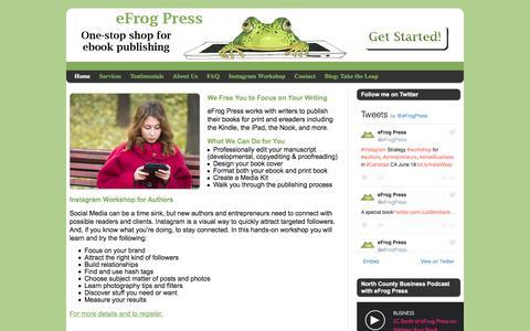 Screenshot of Home Page efrogpress.com - eBook Publishing Services: editing, cover design, ebook formatting - captured June 13, 2016