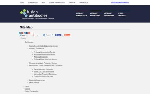 Screenshot of Site Map Page fusionantibodies.com - Fusion Antibodies - Site Map - Antibody Development & Engineering - captured Sept. 16, 2014