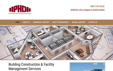 Screenshot of Home Page phdconstruction.com - PHD Construction | Facility Management | Building Construction Company | Commercial Property Management | Bucks County, Montgomery County PA Pennsylvania - captured Oct. 18, 2016