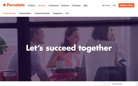 Screenshot of Services Page percolate.com - Global Services and Customer Success | Percolate - captured Sept. 13, 2016