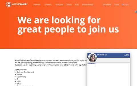 Screenshot of Jobs Page virtualspirits.com - Jobs At Virtual Spirits - captured Sept. 19, 2018