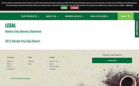 Screenshot of Terms Page gardenhealth.com - Legal   Westland Horticulture - captured Oct. 18, 2018