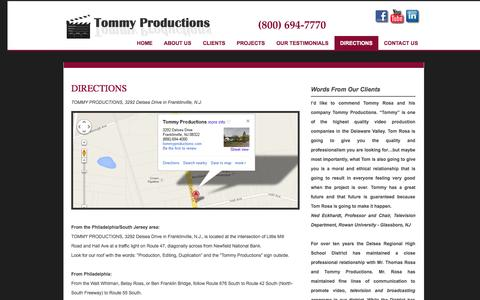Screenshot of Maps & Directions Page tommyproductions.com - Directions - captured Oct. 9, 2014