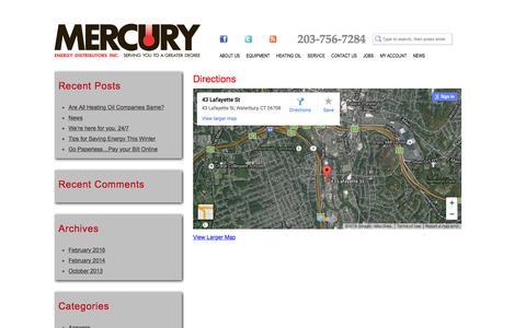 Screenshot of Maps & Directions Page mymercuryenergy.com - Directions | Mercury Energy - captured Feb. 12, 2016