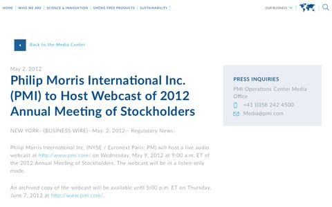 Screenshot of Press Page pmi.com - Philip Morris International Inc. (PMI) to Host Webcast of 2012 Annual Meeting of Stockholders - captured Nov. 1, 2018
