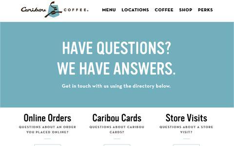 Screenshot of Contact Page cariboucoffee.com - Contact Us – Caribou Coffee - captured Jan. 2, 2019