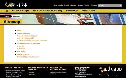 Screenshot of Site Map Page applicgroup.com - APPLIC GROUP-Sitemap: google, zoekmachine, seo, sea, adwords, website, webshop, maken, webdesign, antwerpen, optimalizeren - captured Dec. 30, 2016