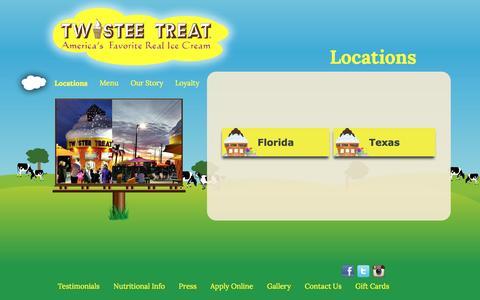 Screenshot of Locations Page twisteetreat.com - Locations   Best  Ice cream Orlando  Best Dessert  Tampa  Best  Bakeries Orlando - captured Dec. 2, 2016