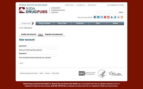 Screenshot of Login Page getcleanly.com - User account   NIDA Drug Pubs - captured March 12, 2018