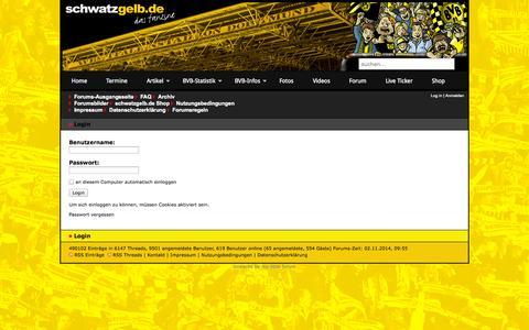 Screenshot of Login Page bvb-forum.de - schwatzgelb.de | Forum - Login - captured Nov. 2, 2014