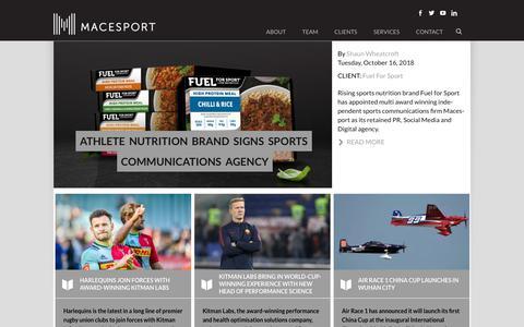 Screenshot of Press Page macesport.com - Macesport | Sports Industry News - captured Oct. 21, 2018