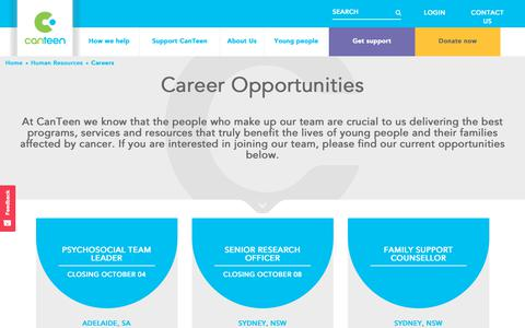 Screenshot of Jobs Page canteen.org.au - Careers Opportunity - CanTeen - captured Sept. 26, 2018