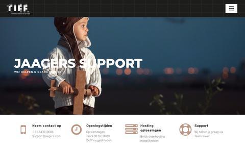 Screenshot of Support Page jaagers.com - Support van RIFF - Jaagers - captured Sept. 20, 2018