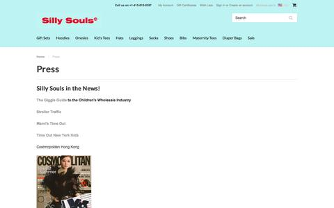 Screenshot of Press Page sillysouls.com - Press | Urban Baby Clothes | Baby Store | SillySouls.com - captured Feb. 23, 2016