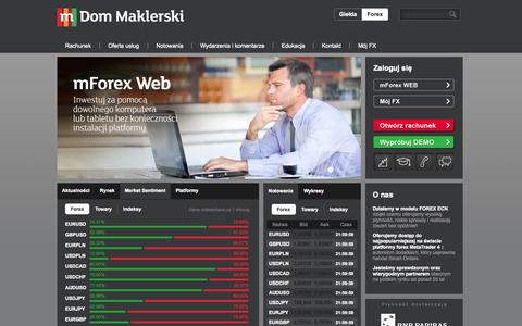 Screenshot of Home Page mforex.pl - Forex ECN Domu Maklerskiego mBanku - captured Sept. 23, 2014