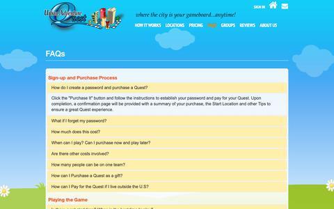 Screenshot of FAQ Page urbanadventurequest.com - Urban Adventure Quest - FAQs - captured Nov. 17, 2018