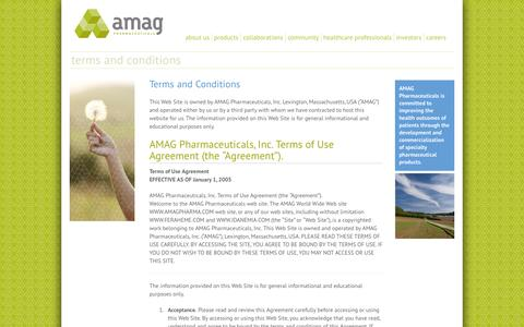 Screenshot of Terms Page amagpharma.com - Terms and Conditions | AMAG Pharmaceuticals - captured Oct. 4, 2014