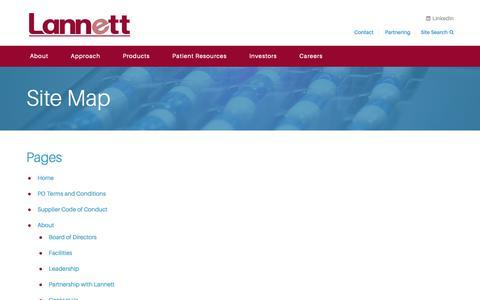 Screenshot of Site Map Page lannett.com - Site Map | Lannett Company - captured Sept. 27, 2018