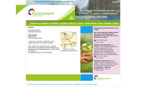 Screenshot of Contact Page huisartsenpost-oudeijssel.nl - Contact | Huisartsenpost Oude IJssel - captured Oct. 5, 2014