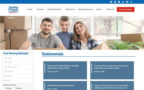 Screenshot of Testimonials Page tendertouchmoving.com - Testimonials - Tender Touch Moving & Storage Toronto - captured Oct. 18, 2018