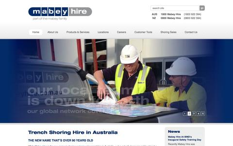 Screenshot of Home Page mabeyhire.com.au - Mabey Hire - Trench Shoring & Systems Hire in Australia - captured Sept. 12, 2015