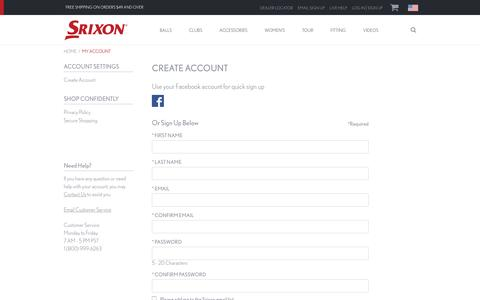 Screenshot of Signup Page srixon.com - Sites-Srixon-Site - captured Aug. 30, 2016