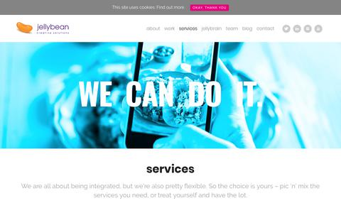 Screenshot of Services Page jellybeancreative.co.uk - Food Marketing Agency - Services - Jellybean Creative Solutions - captured Oct. 16, 2017
