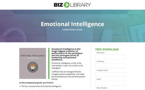 Screenshot of Landing Page bizlibrary.com - Emotional Intelligence [Competency Guide] - captured Feb. 26, 2017