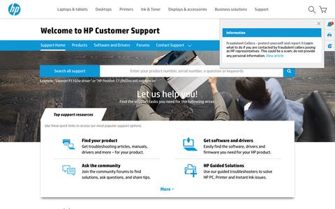 Screenshot of Support Page hp.com - HP Technical Support, Help, and Troubleshooting | HP® Customer Support - captured April 8, 2017