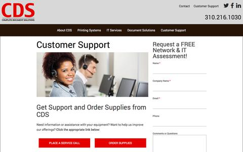Screenshot of Support Page cdsla.com - Customer Support | Complete Document Solutions - captured Aug. 20, 2017