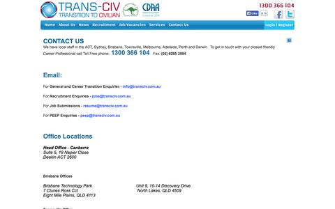 Screenshot of Contact Page transciv.com.au - Trans-Civ Contact Information - captured Sept. 30, 2014
