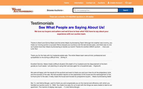 Screenshot of Testimonials Page wearsauctioneering.com - Testimonials | Wears Auctioneering Inc. - captured Oct. 20, 2018