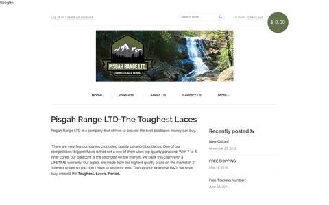 Screenshot of About Page pisgahrangeltd.com - Pisgah Range LTD- About Us- The Toughest Laces - captured July 10, 2018