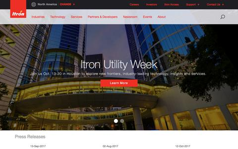 Screenshot of About Page itron.com - Home | Itron, Inc. - captured Oct. 15, 2017