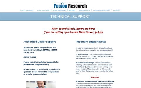 Screenshot of Support Page fusionrd.com - Fusion Research | SUPPORT - captured Nov. 25, 2016