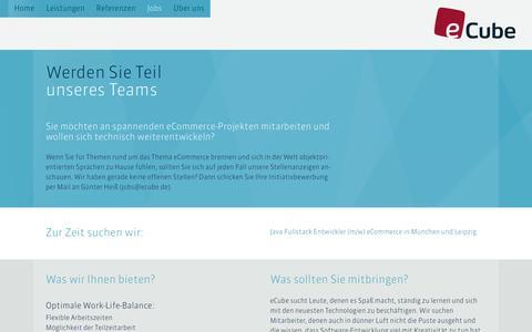 Screenshot of Jobs Page ecube.de - eCube – Enterprise Commerce - captured Sept. 19, 2016