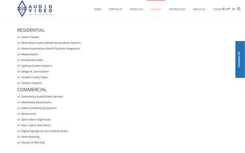 Screenshot of Services Page av-intel.com - Services – AV Intel - captured Nov. 21, 2016