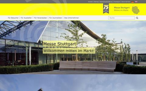 Screenshot of Home Page messe-stuttgart.de - Messe Stuttgart - Mitten im Markt - captured Sept. 8, 2015