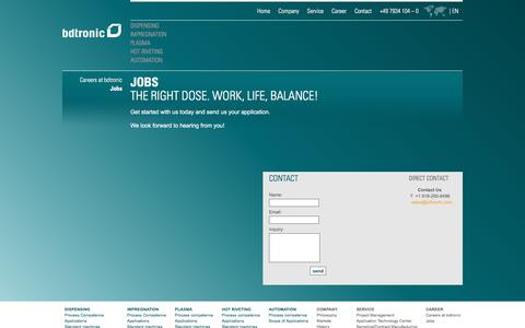 Screenshot of Jobs Page bdtronic.com - Jobs - Send Us Your Application | bdtronic - captured March 28, 2016