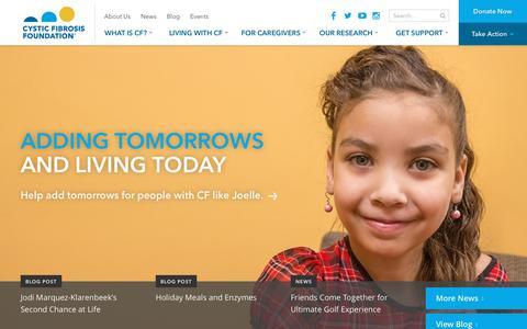 Screenshot of Home Page cff.org - Homepage | CF Foundation - captured Dec. 1, 2015