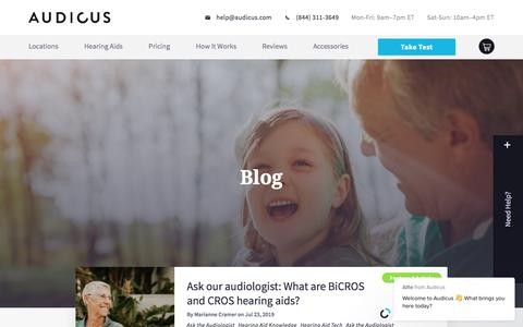 Screenshot of Blog audicus.com - About Hearing Aids and Hearing Loss Page 1 | Audicus Blog - captured Nov. 29, 2019