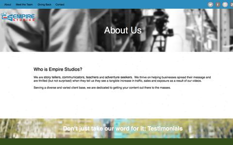 Screenshot of About Page empirestudiosnyc.com - About - captured July 18, 2018